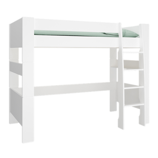 Pathos Wooden High Sleeper Bed In Pure White With Ladder
