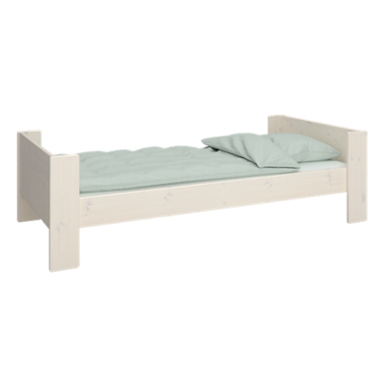 Product photograph showing Pathos Wooden Single Bed In White Wash