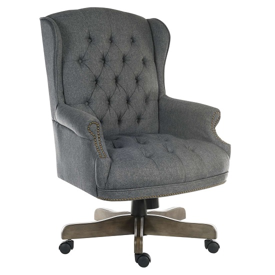 Patmos Executive Office Chair In Grey Fabric With Wheels