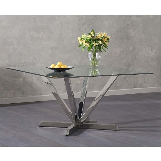 Patrick Square Glass Dining Table With Stainless Steel Legs