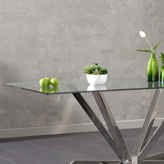 Patrick Rectangular Glass Dining Table With Stainless Steel Legs_2