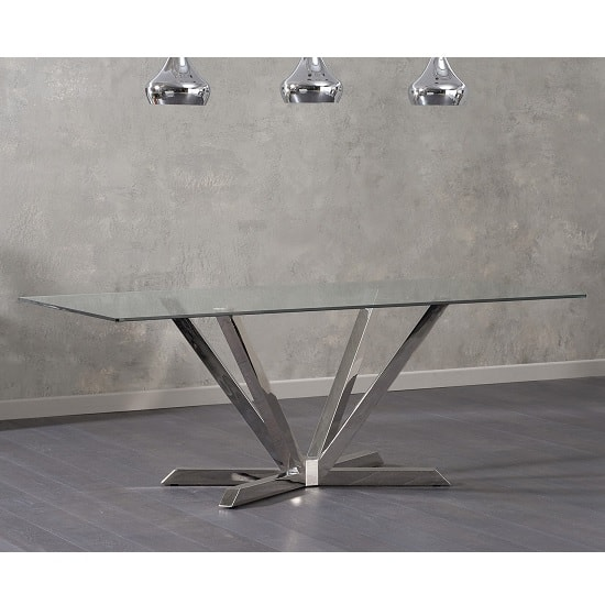 Patrick Rectangular Glass Dining Table With Stainless Steel Legs_3