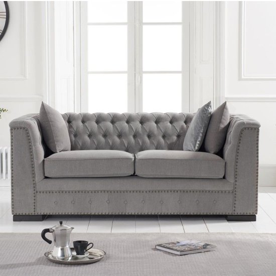 Pauleso Linen Fabric Upholstered 2 Seater Sofa In Grey