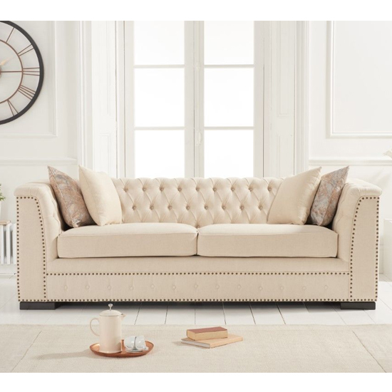 Pauleso Linen Fabric Upholstered 3 Seater Sofa In Beige