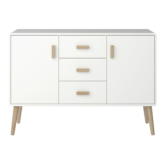Pavona Wooden Sideboard In White With 2 Doors And 3 Drawers_2