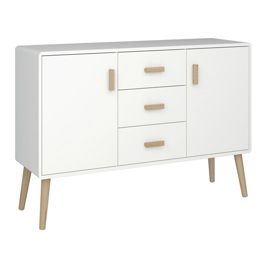 Pavona Wooden Sideboard In White With 2 Doors And 3 Drawers