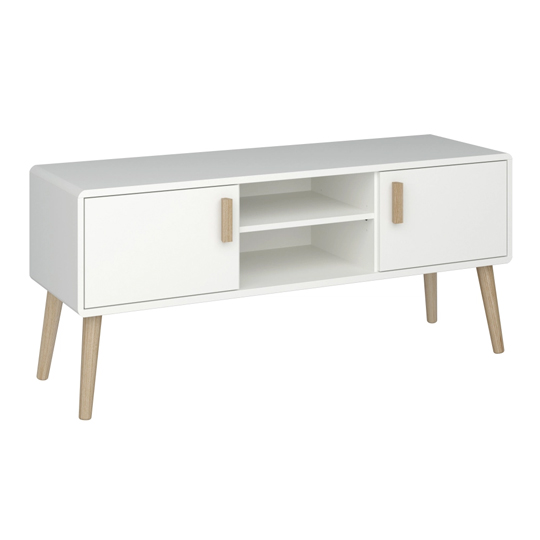 Pavona Wooden TV Units In White With 2 Doors