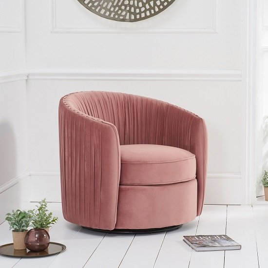 Pavos Tub Design Velvet Swivel Lounge Chair In Blush Pink