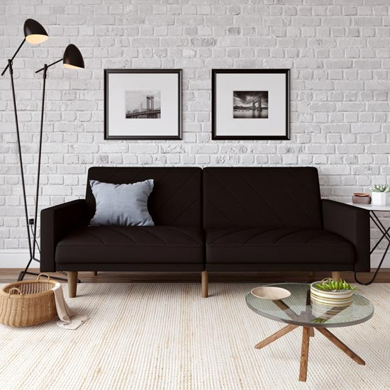 Paxson Linen Sofa Bed In Black With Wooden Feets