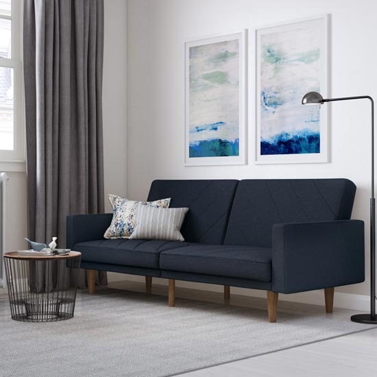 Paxson Linen Sofa Bed In Navy Blue With Wooden Feets