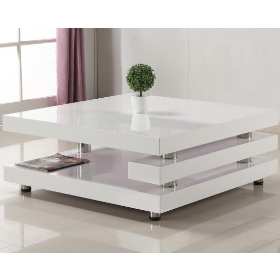 Paxton Modern Coffee Table Square In High Gloss White 319 95 Go Furniture Co Uk