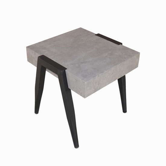 Paxton Wooden End Table In Light Concrete With Metal Legs