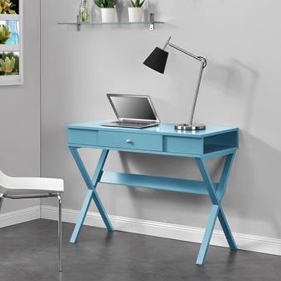 Paxton Wooden Laptop Desk In Blue