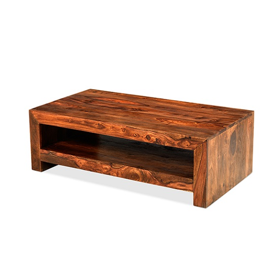Payton Wooden Coffee Table In Sheesham Hardwood With A Shelf
