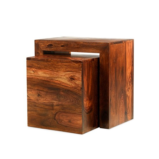 Payton Wooden Cube Nesting Tables In Sheesham Hardwood