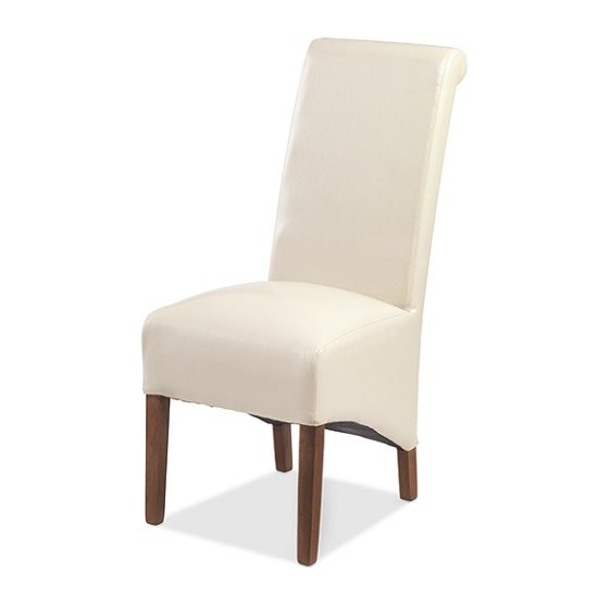 Payton Dining Chair In Beige Bonded Leather And Dark Legs