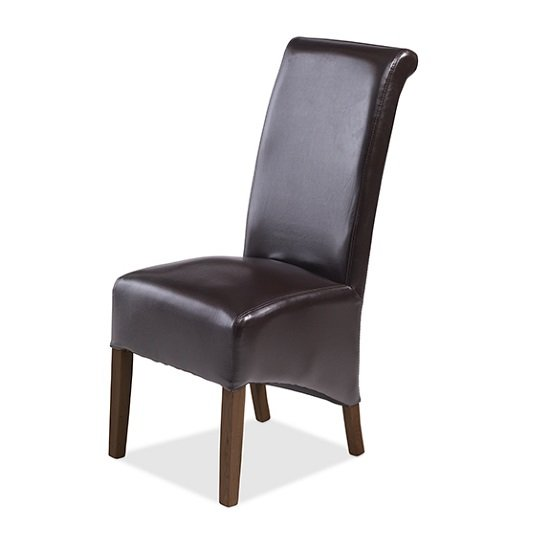 Payton Dining Chair In Brown Bonded Leather And Dark Legs_1