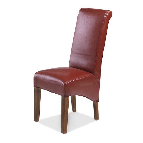Payton Dining Chair In Red Bonded Leather And Dark Legs