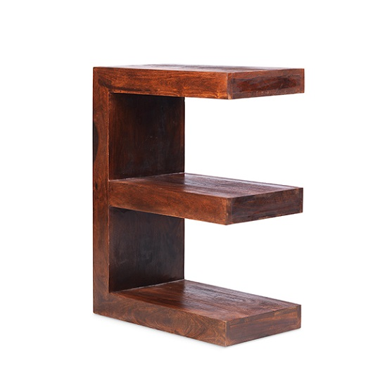 Payton Wooden E Shaped Display Stand In Sheesham Hardwood_3