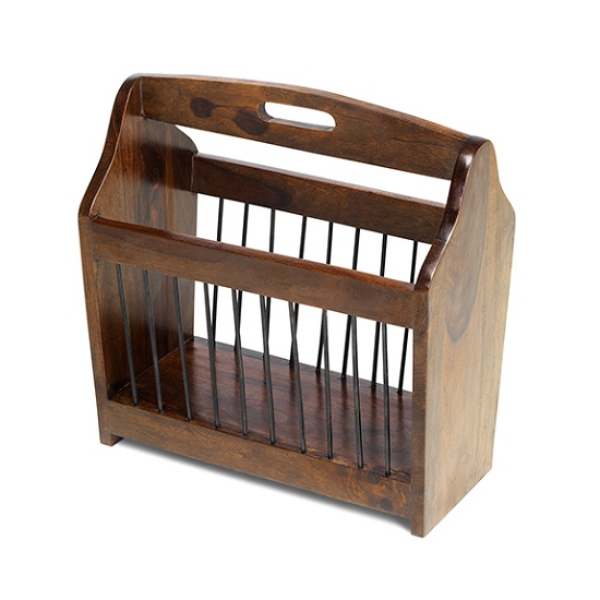 Payton Contemporary Wooden Magazine Rack In Sheesham Hardwood_1