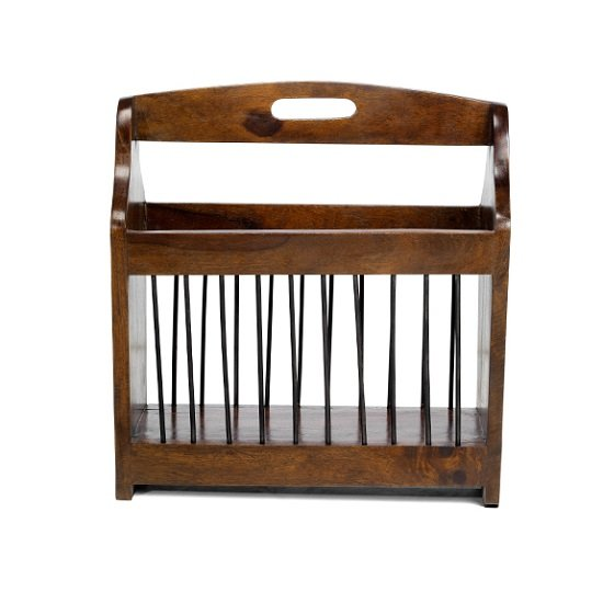 Payton Contemporary Wooden Magazine Rack In Sheesham Hardwood_2