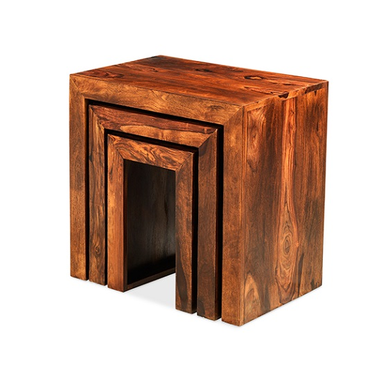 Payton Wooden Nest Of 3 Tables In Sheesham Hardwood_2