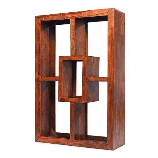 Payton Wooden Display Unit Rectangular In Sheesham Hardwood