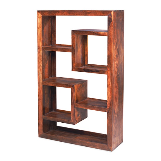 Payton Wooden Tall Display Unit Rectangular In Sheesham Hardwood