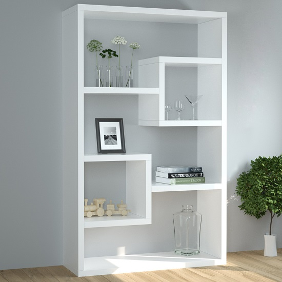 Escala Modern Display Shelving Unit In White High Gloss