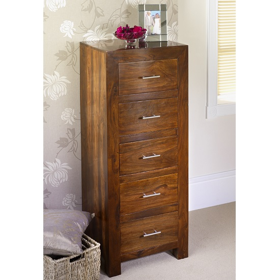 Payton Wooden Chest Of Drawers Tall In Sheesham Hardwood