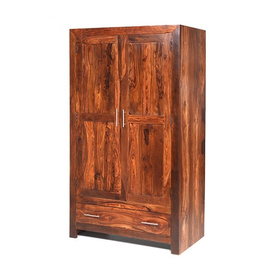 Payton Wooden Wardrobe In Sheesham Hardwood With 2 Doors_1