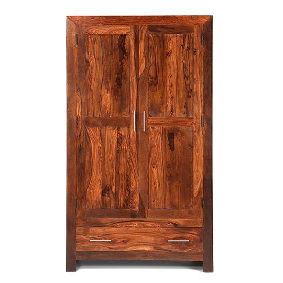 Payton Wooden Wardrobe In Sheesham Hardwood With 2 Doors_3