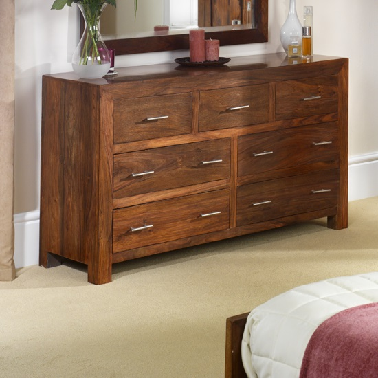 Payton Chest Of Drawers Wide In Sheesham Hardwood With 7 Drawers