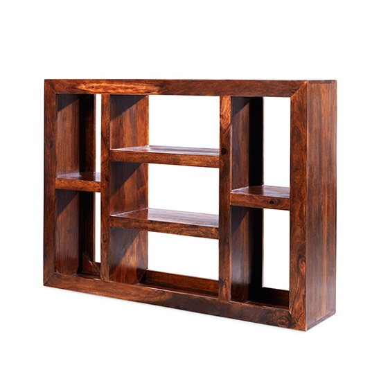 Payton Wooden Shelving Unit Wide In Sheesham Hardwood_2