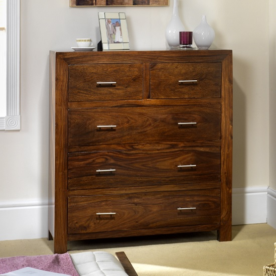 Payton Chest Of Drawers In Sheesham Hardwood With 5 Drawers
