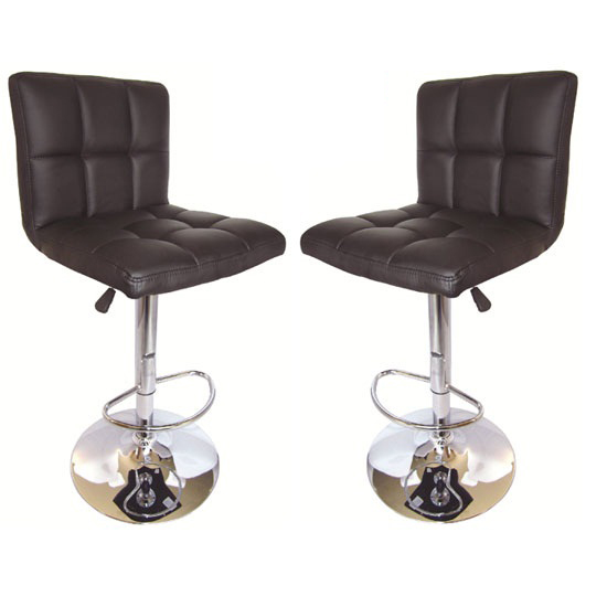 Blenheim Bar Stools In Black Faux Leather in A Pair