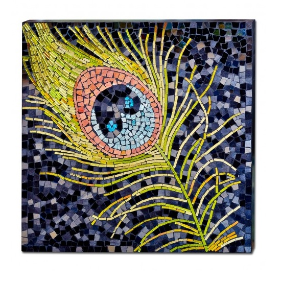 Peacock Feather Mosaic Glass Wall Art