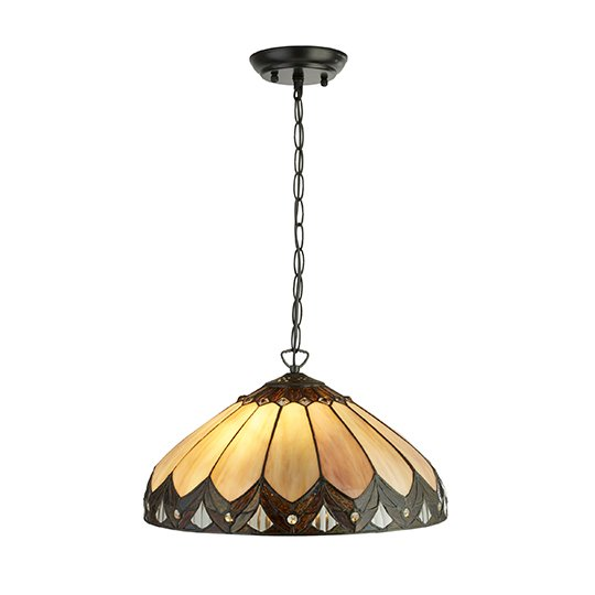 Pearl Tiffany 2 Lights Pendant Ceiling Light In Multicolour
