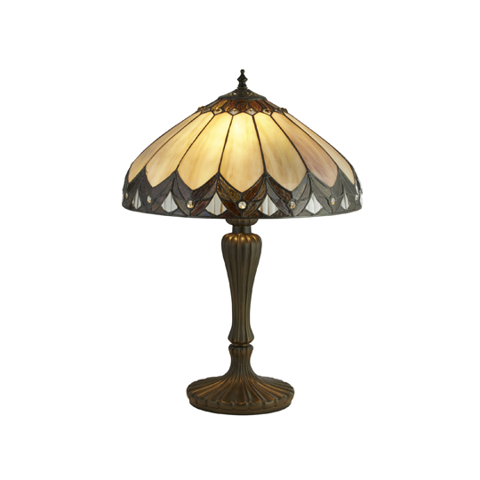 Pearl Tiffany Dome Shaped Table Lamp In Multicolour