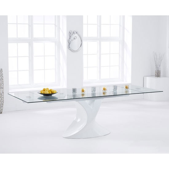 Pearl Extending Glass Dining Table With White High Gloss Base