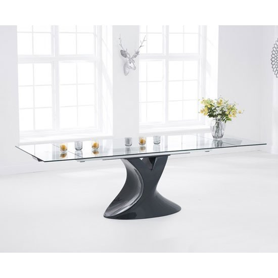 Pearl Extending Glass Dining Table With Grey High Gloss Base