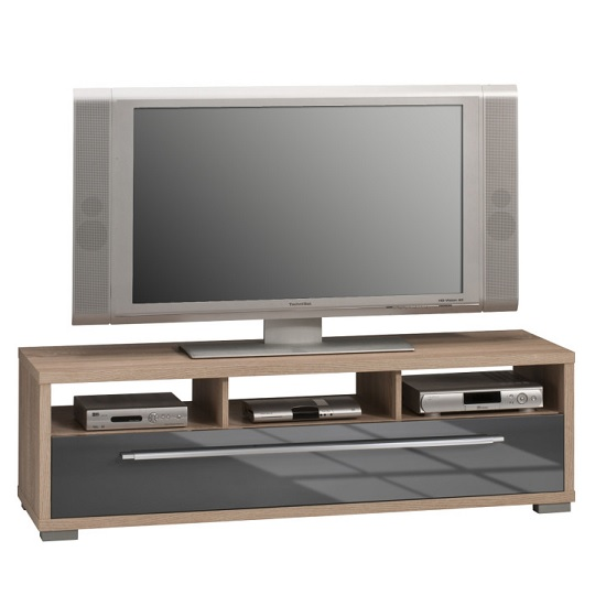Pearl Wooden TV Stand In Sonoma Oak And Grey High Gloss
