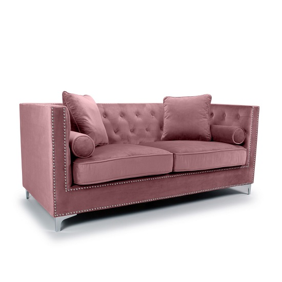 Peckham 3 Seater Sofa In Pink Brushed Velvet With Chrome Legs