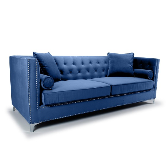 Peckham 4 Seater Sofa In Blue Brushed Velvet With Chrome Legs