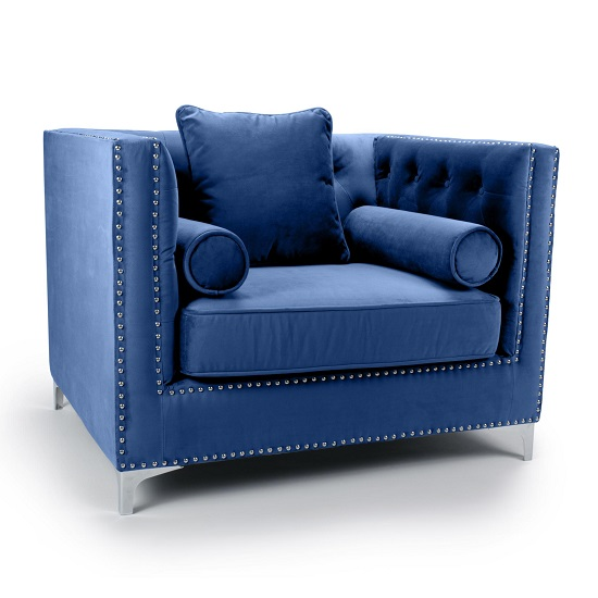 Peckham Fabric Arm Chair In Blue Brushed Velvet And Chrome Legs_1