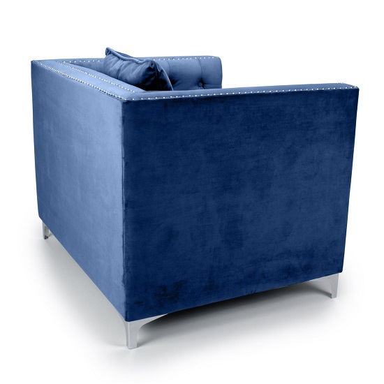 Peckham Fabric Arm Chair In Blue Brushed Velvet And Chrome Legs_2