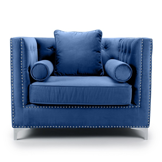 Peckham Fabric Arm Chair In Blue Brushed Velvet And Chrome Legs_3