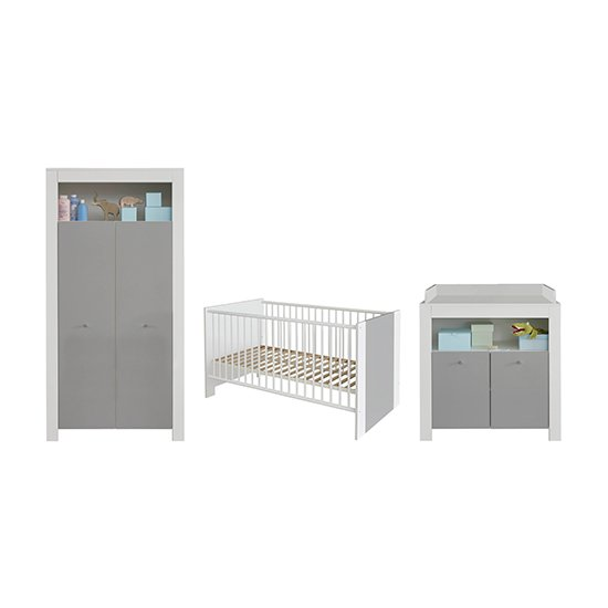 Peco Baby Room Wooden Furniture Set 1 In White And Light Grey_2