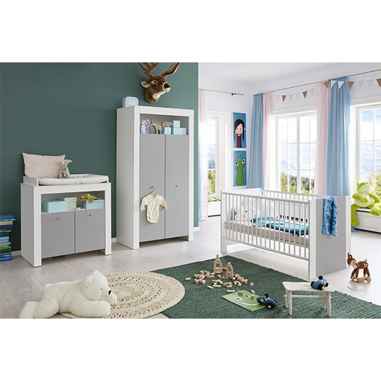 Peco Baby Room Wooden Furniture Set 1 In White And Light Grey_1
