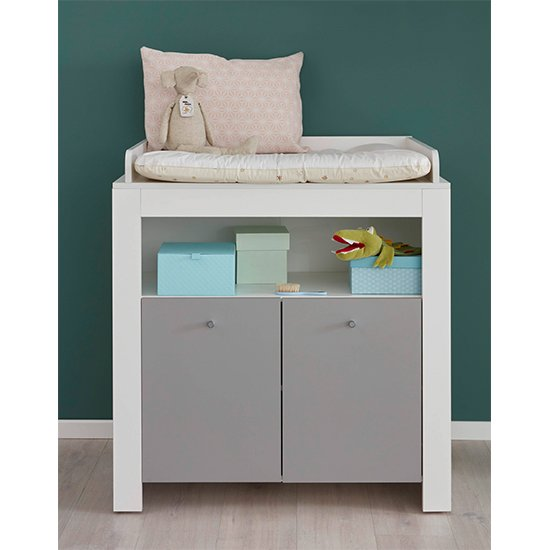 Peco Storage Cabinet With Changer Top In White And Light Grey